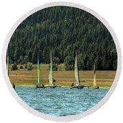 Sailboat Regatta Cascade Lake Round Beach Towel
