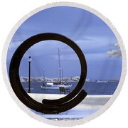Sailboat Through Omphalos Sculpture Near Infrared Round Beach Towel