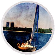 Sailboat Tilted Towers W Metal Round Beach Towel