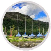 Sailboats At Glenridding In The Lake District Round Beach Towel