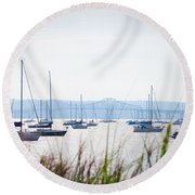 Sailboats At Rest Round Beach Towel by Bill Cannon