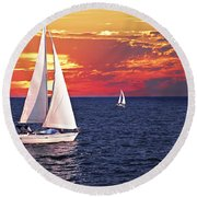 Sailboats At Sunset Round Beach Towel by Elena Elisseeva