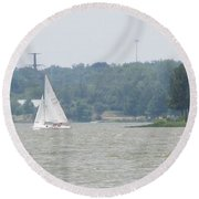 Sailboats At White Rock Lake Round Beach Towel