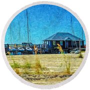 Sailboats Boat Harbor - Quiet Day At The Harbor Round Beach Towel