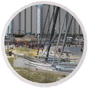 Sailboats For Playtime Round Beach Towel