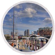 Sailboats In Constitution Marina - Boston Round Beach Towel by Joann Vitali