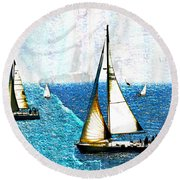 Sailboats In The Harbor Round Beach Towel