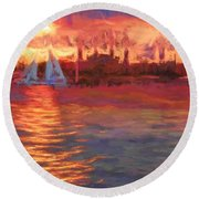 Sailboatsunset Round Beach Towel