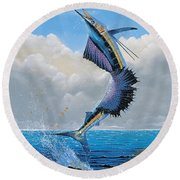 Sailfish Dance Off0054 Round Beach Towel