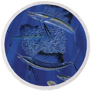 Sailfish Round Up Off0060 Round Beach Towel