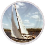 Sailing 1 Round Beach Towel