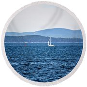 Sailing Amidst The Buoys Round Beach Towel