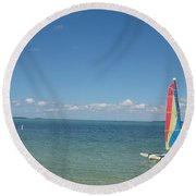 Sailing  At Key Largo Round Beach Towel
