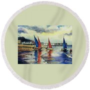 Sailing At Penarth Round Beach Towel
