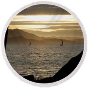 Sailing At Sunset On The Bay Round Beach Towel