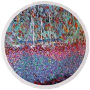 Sailing Among The Flowers Round Beach Towel