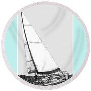 Sailing Freedom On A Reach Round Beach Towel