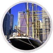 Sailing Boat Anchored In South Street Seaport 1984 Round Beach Towel