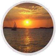 Sailing Boat In Ibiza Sunset Round Beach Towel