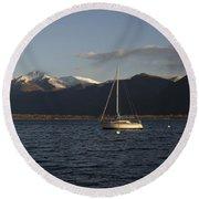 Sailing Boat On An Alpine Lake Round Beach Towel