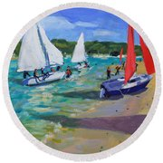 Sailing Boats Round Beach Towel by Andrew Macara