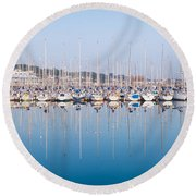 Sailing Boats In The Howth Marina Round Beach Towel