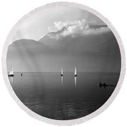 Sailing Boats On Como Lake Round Beach Towel