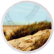 Sailing By Sand Dune Round Beach Towel