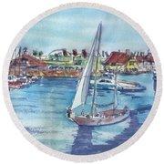 Sailing By Shoreline Village Round Beach Towel