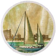 Sailing Dreams On A Summer Day Round Beach Towel