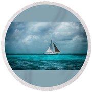 Sailing In Blue Belize Round Beach Towel