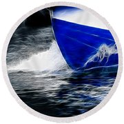 Sailing In Blue Round Beach Towel
