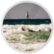 Sailing In California Round Beach Towel