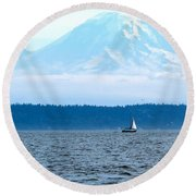 Sailing In Mt. Rainier's Shadow Round Beach Towel