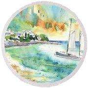 Sailing In Saint Martin Round Beach Towel