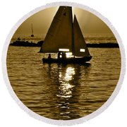 Sailing In Sepia Round Beach Towel