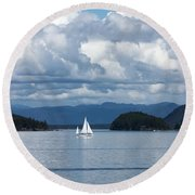 Sailing In The San Juans Round Beach Towel