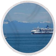 Sailing In The Summer Round Beach Towel