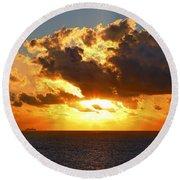 Sailing Into The Sunrise Round Beach Towel
