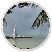 Sailing Key Largo Round Beach Towel