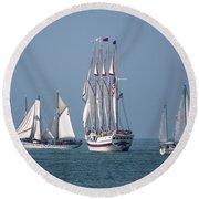 Sailing Lake Erie Round Beach Towel