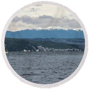 Sailing Lake Taupo Round Beach Towel
