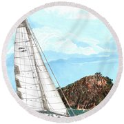 Bay Of Islands Sailing Sailing Round Beach Towel