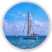 Sailing Off Of Key Largo Round Beach Towel