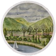 Sailing On A Cloudy Day Round Beach Towel