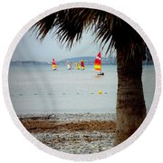 Sailing On A Cloudy Morning Round Beach Towel by Lainie Wrightson