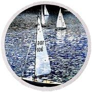 Sailing On Blue Round Beach Towel