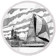 Holland Harbor Lighthouse And Spinaker Flying Sailboat Round Beach Towel