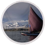 Sailing Boat On Lake Titicaca Round Beach Towel