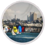 Sailing On The Bay Round Beach Towel
